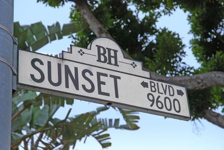 ca: sunset blvd sign in beverly hills ca