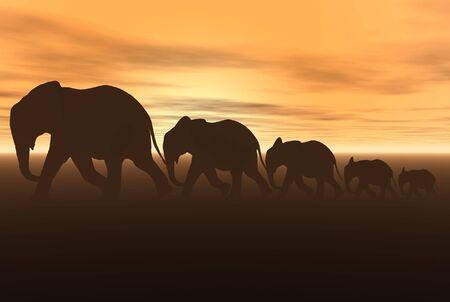 3D render of elephants