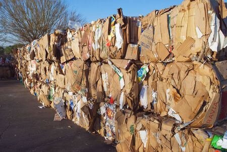 recycle paper: cardboard pressed in to bales for later recycling