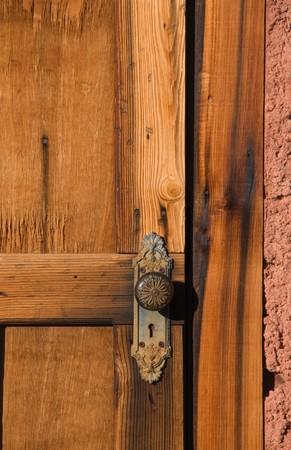 Close up of old wood door