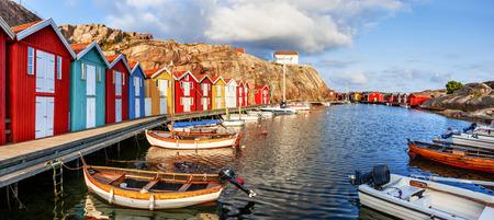 Old Harbor in Sweden Stock Photo