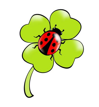 Cloverleaf with Ladybug Stock Photo