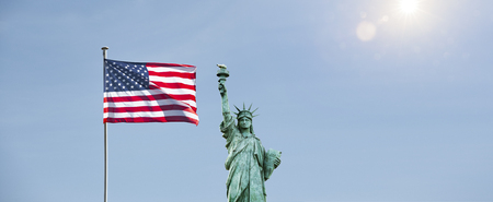 american flag with statue