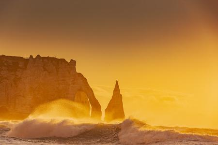 Cliffs of Etretat at Sunset