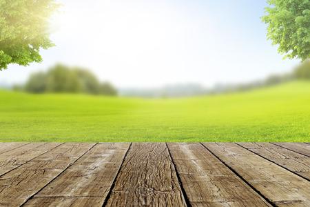 Landscape Terrace Bokeh with green Meadow