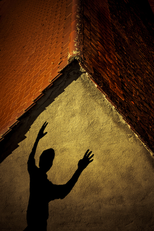Shadow of a person on house wall