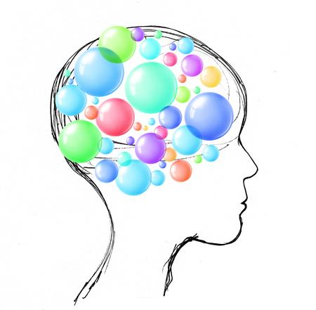 Blasen im Kopf einer menschlichen Person Standard-Bild