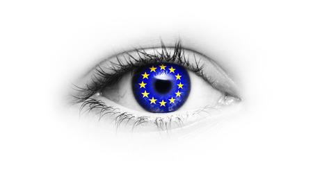 EU flag in the eye isolated
