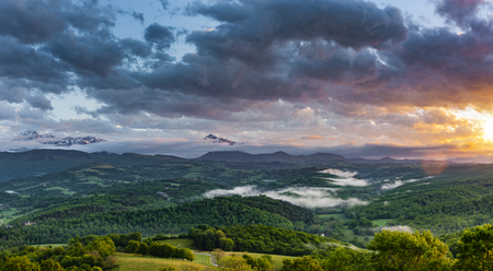 Panorama of the French Pyrenees at sunset