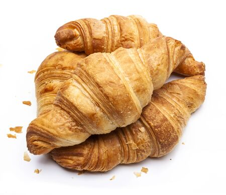French croissants isolated on white background