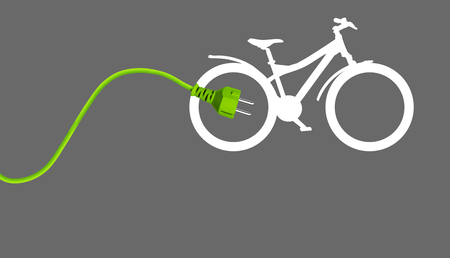 Green power plug with bicycle on grey background