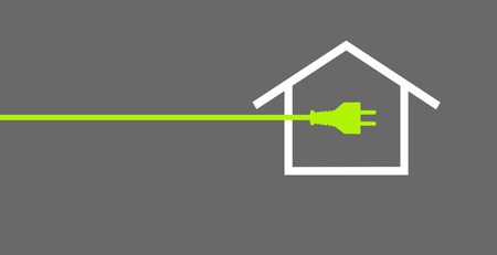 Green power plug with house on grey background