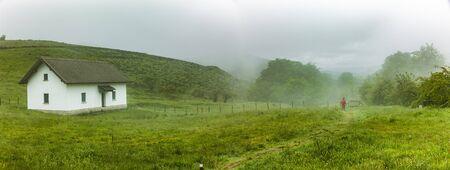 pilgrim on st. james way on a misty day