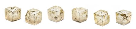 Pyrite cubes isolated on white background Stock Photo