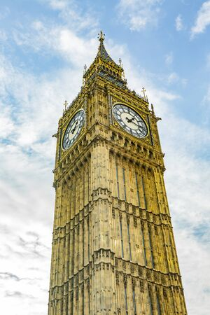Big Ben tower in London blue sky