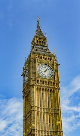 Big Ben tower in London blue sky Stock Photo