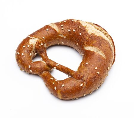 Whole wheat pastry pretzel isolated on white background