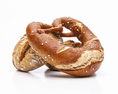 Whole wheat pastry pretzel isolated on white background