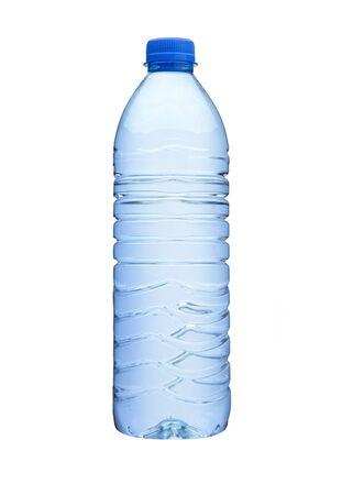 Plastic plastic fles geïsoleerd op een witte achtergrond