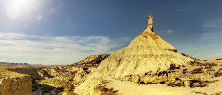 Desert Landscape with Castil de Tierra in Bardenas Reales, spain
