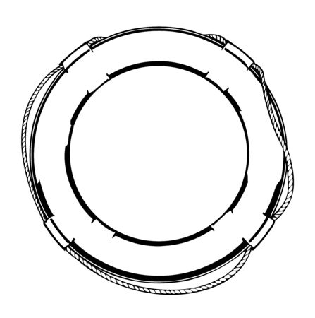 Black and white illustration of a lifebuoy