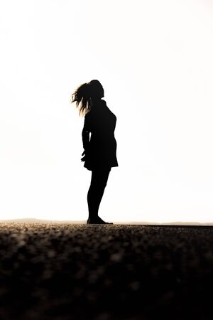 Silhouette of a woman with skirt and ponytail Foto de archivo - 131335572