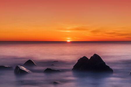 Beautiful colorful sunset over the sea