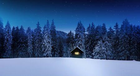 Log cabin with shining window in wintry forest Standard-Bild