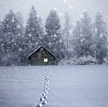 Illuminated log cabin in winter night Imagens - 134474715