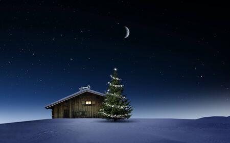 Christmas Illuminated hut in cold winternight