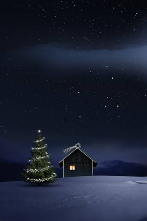 Christmas Illuminated hut in cold winternight Stock Photo