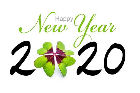 A Happy New Year 2020  with Four leaf clover