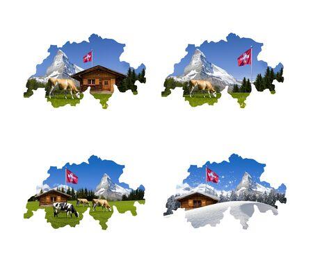 Four Swiss maps with the Matterhorn motif