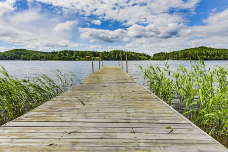 Boat jetty on the high coast in Sweden