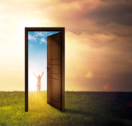 Door outside in a meadow