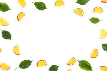 Sugar citrus fruit cut out as a frame