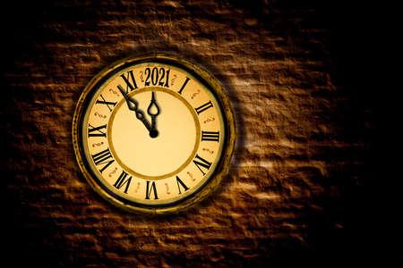 Nostalgic clock with five to twelve 2021
