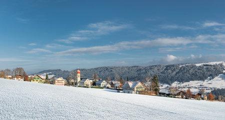 Village in the Allgäu in a wintry landscape