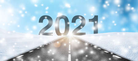 Road in winter direction 2021
