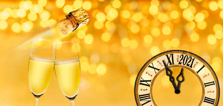 New Year's Eve with clock and champagne glasses