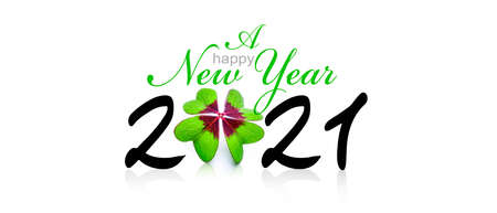 New year wish for 2021 with clover leaf
