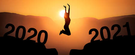 Jump at the turn of the year from 2020 to 2021 with year number