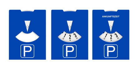 Blue parking disc with arrival time on white background
