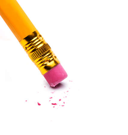 Eraser on a pencil on white background Фото со стока