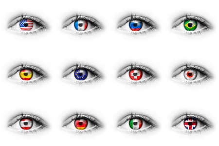 Eye with reverse national flags in eyeball