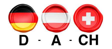 DA CH Seal with country flags of Germany, Austria and Switzerland
