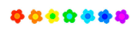 Colorful hippie flowers in pixel-art as a 3D illustration