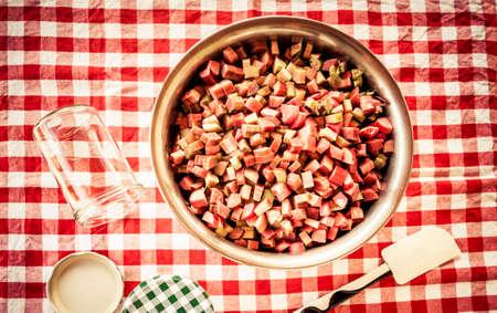 Rhubarb cut for boiling