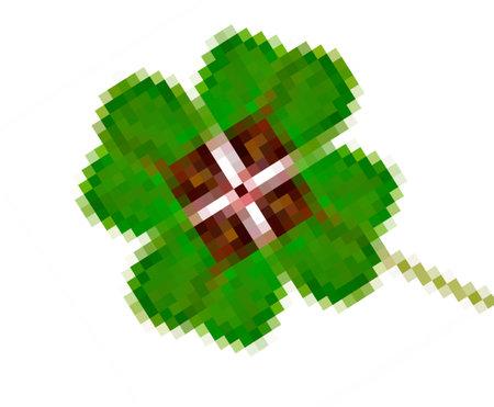 Four-leaf clover in pixel art