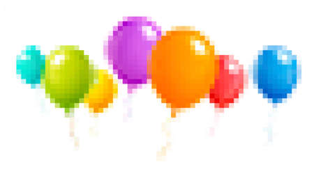Colorful balloons in pixel style 스톡 콘텐츠
